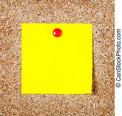 amarillo, corcho, nota, papel, Primer plano, tabla