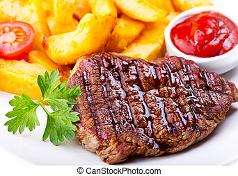 grilled meat - plate of grilled meat with vegetables