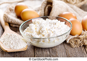 cottage cheese, eggs and flour