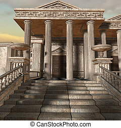 Olympia-A greek fantasy background - 3d render of a greek...