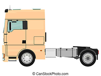 Tractor unit - Cartoon tractor unit isolated on a white...