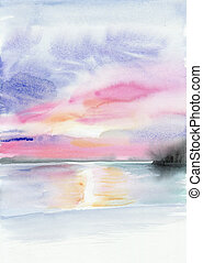 Seashore sunset - Tropical sunset view with seashore and...