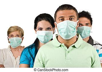 retrato, gente, Proteger, gripe