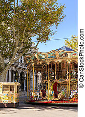 Carousel near the Palais des Papes in Avignon France