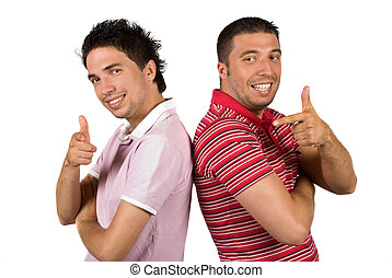 Cool guys thumbs-up and point - Two cool guys pointing and...