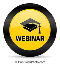 webinar black yellow web icon - new modern oryginal web icon