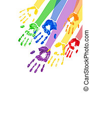 Vertical background with multicolored paint hands - Vector...