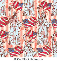 Sketch Statue of Liberty and flag, vector seamless pattern -...