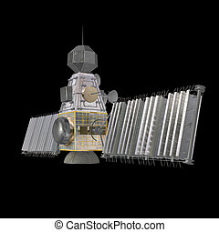 military satellite - rendering of a military space satellite...
