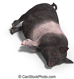Piglet - rendering of a young pig with Clipping Path and...