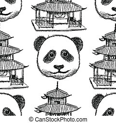 Sketch Chinese temple and panda, vector  seamless pattern