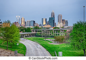 early cloudy morning over charlotte skyline in north...