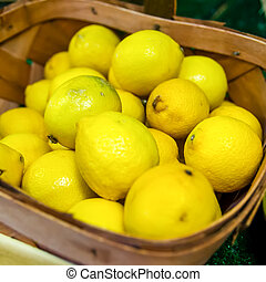 籃子, 市場, 檸檬, 鮮艷, 顯示