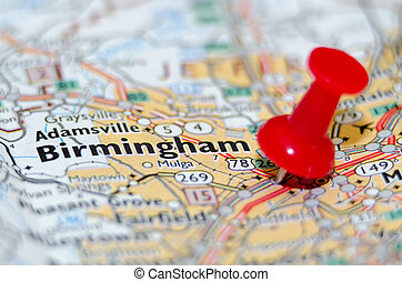 birmingham alabama city pin on the map