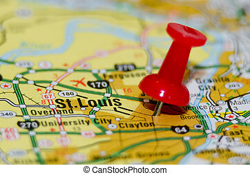 stlouis Missouri city pin on the map