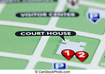 court house pin on the map