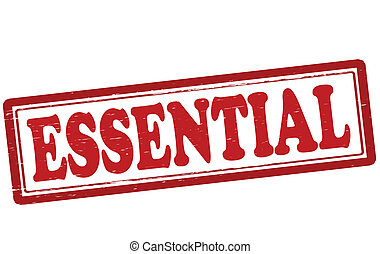 Essential - Stamp with word essential inside, vector...