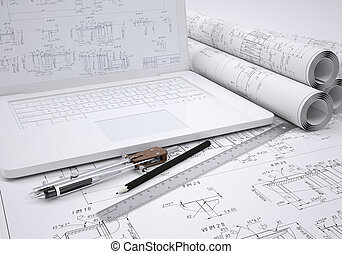 Scrolls engineering drawings and laptop Desk Engineer