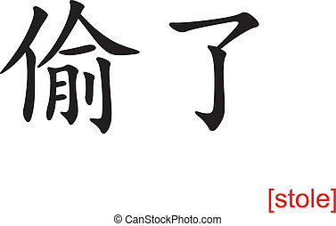 Chinese Sign for stole - Chinese calligraph as design...