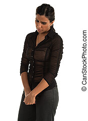 Brown blouse - Beautiful tall Indian woman in a tight brown...