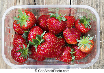 punnet of frshly icked strawberries - pick your own...