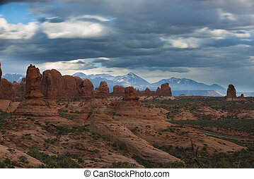 Arches National with cloudy sky