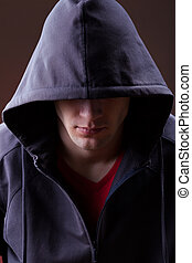 Man in a hoodie - A mysterious man wearing a hooded jumper