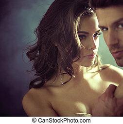 Sexy, młody, dama, patrząc, jej, mąż