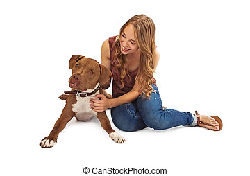 Pit Bull and Teenage Girl Interacting