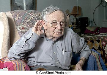 senior man making gesture - A senior man making a repeat or...