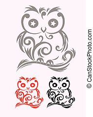 Owl ornate art vector decoration