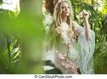 Gorgeous blond nymph walking in the forest - Fabulous blond...