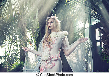 Portrait of the blond nymph in the forest - Portrait of the...