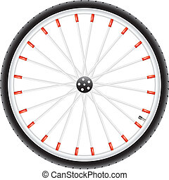 Bicycle wheel in silver, dark and red design on white...