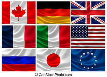 Flags of the G8 Industrialized Countries and EU - 3D...