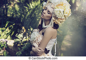 Fabulous brunette woman in the jungle - Fabulous brunette...