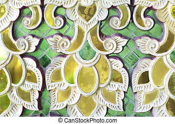 temple glass decorative detail, Thailand