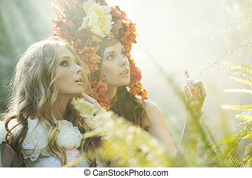 Two nymph sisters in the jungle - Two nymph sisters in the...