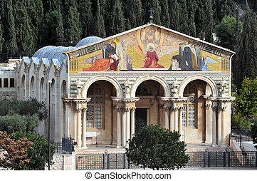 教堂, 全部, 國家, 建立, 橄欖, 耶路撒冷,...