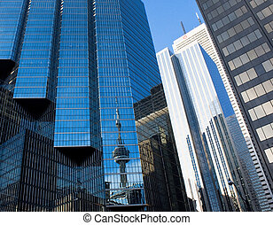 Toronto downtown CN Tower - Toronto downtown buildings with...