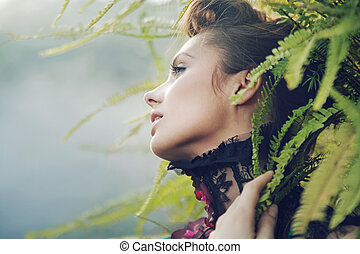 Brunette woman in the tropical forest