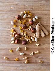 nuts sticks rasin wood - peanut hazelnut pistachio raisin...