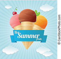 Vector summer Vintage Ice Cream Poster. - Vector summer...