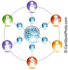 Social Network Diagram - Chart representing a network of...