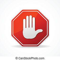 Vector Stop Sign Red isolated on white