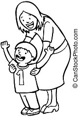 Mother Teaching Child Line Art - Mom helps her son learn to...