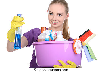 Cleaning - Young beautiful blonde housewife cleaning...
