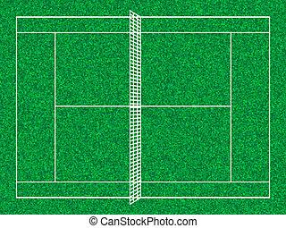 tennis court - Tennis court with grass texture. Vector...