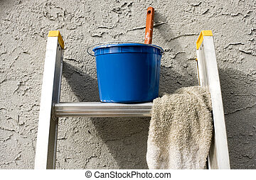 Painting Materials on Ladder