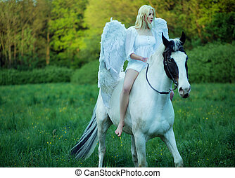 Bare feet angel riding a horse - Bare feet woman - angel...